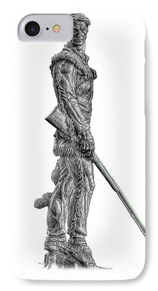 Bw Of Mountaineer Statue IPhone Case by Dan Friend