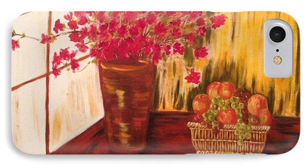 IPhone Case featuring the painting By The Window by Brindha Naveen