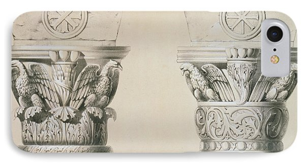 Byzantine Capitals From Columns In The Nave Of The Church Of St Demetrius In Thessalonica Phone Case by Charles Felix Marie Texier