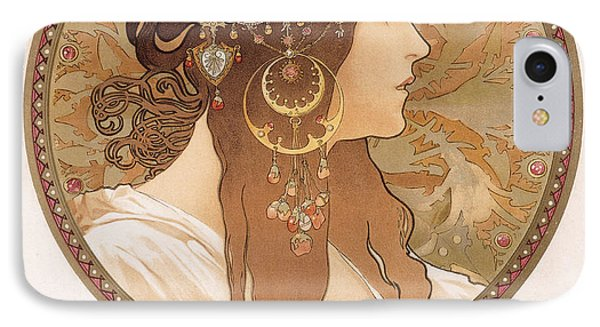 Byzantine Head Of A Brunette IPhone Case by Alphonse Marie Mucha
