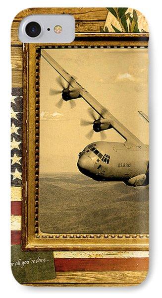 C-130 Hercules Rustic Flag Phone Case by Reggie Saunders