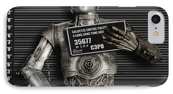 C-3po Mug Shot IPhone Case by Tony Rubino