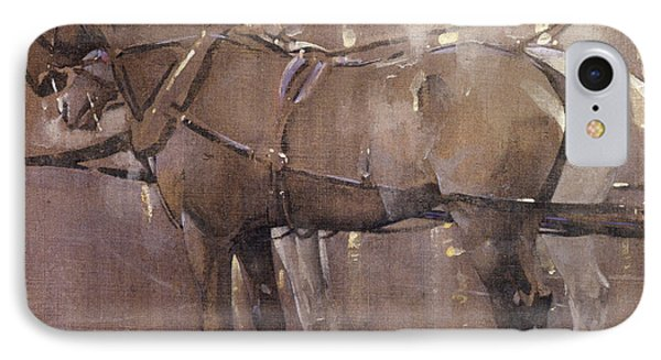 Cab Horses By Gaslight  IPhone Case by Joseph Crawhall