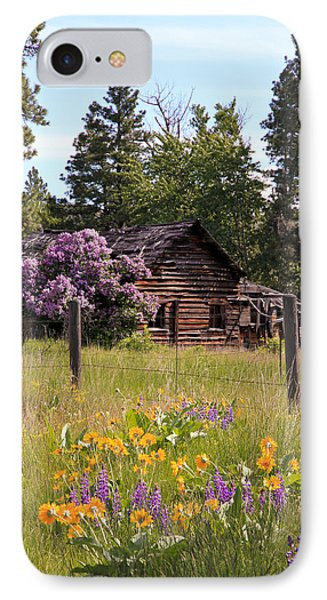 Cabin And Wildflowers IPhone Case by Athena Mckinzie