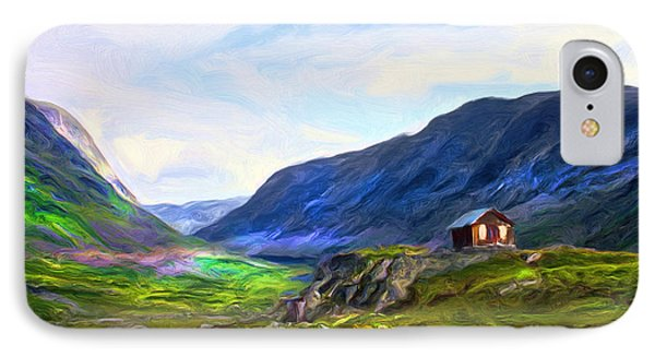 IPhone Case featuring the painting Cabin In The Valley by Tyler Robbins