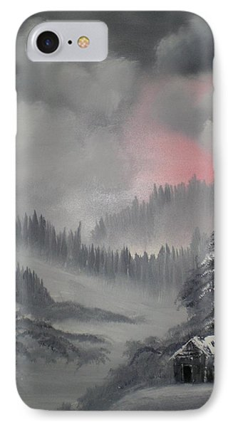 Cabin In The Winter Forset Phone Case by James Waligora
