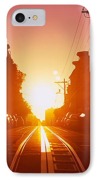 Cable Car Tracks At Sunset, San IPhone Case by Panoramic Images