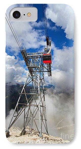 cableway in Italian Dolomites IPhone Case by Antonio Scarpi
