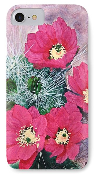 Cactus Flowers I IPhone Case by Mike Robles