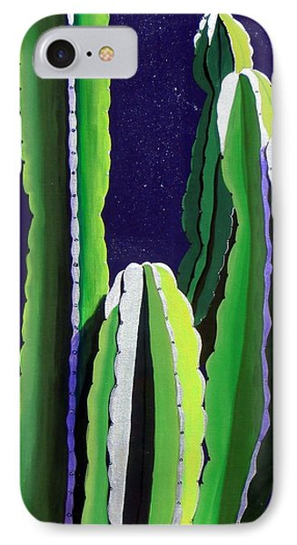 Cactus In The Desert Moonlight IPhone Case by Karyn Robinson