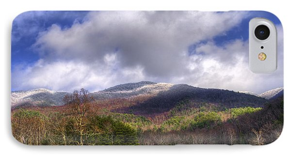 Cades Cove First Dusting Of Snow Phone Case by Debra and Dave Vanderlaan