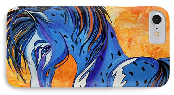 IPhone Case featuring the painting Cadet The Blue Horse by Janice Rae Pariza