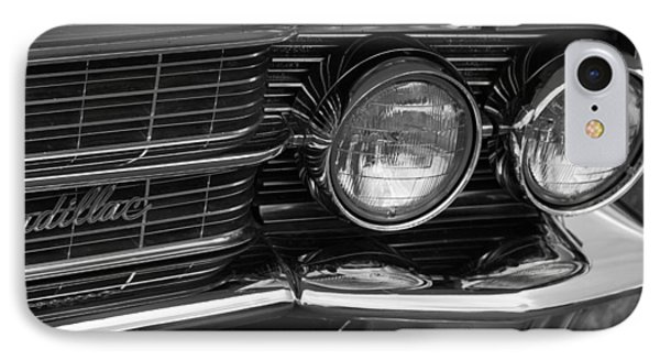 Cadillac Grill And Lights B/w IPhone Case by Mick Flynn