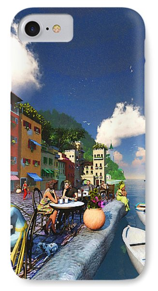 Cafe By The Sea IPhone Case by Ken Morris