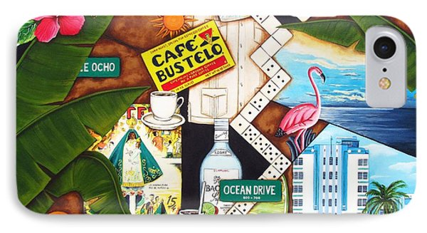 IPhone Case featuring the painting Cafe Miami by Joseph Sonday