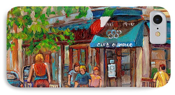 Cafe Olimpico-124 Rue St. Viateur-montreal Paintings-sports Bar-restaurant-montreal City Scenes Phone Case by Carole Spandau