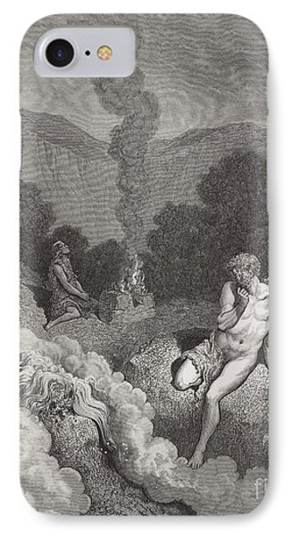 Cain And Abel Offering Their Sacrifices IPhone Case by Gustave Dore
