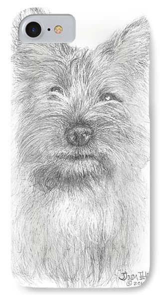 IPhone Case featuring the drawing Cairn Terrier by Jim Hubbard