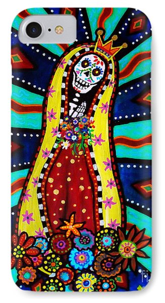 IPhone Case featuring the painting Calavera Virgen by Pristine Cartera Turkus