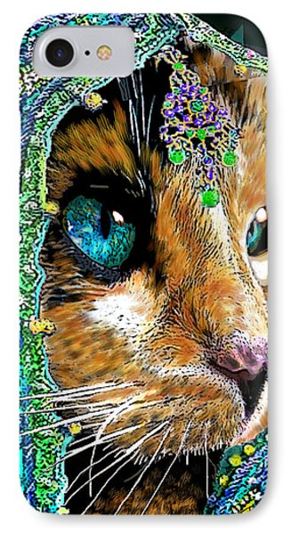 Calico Indian Bride Cats In Hats IPhone Case by Michele Avanti
