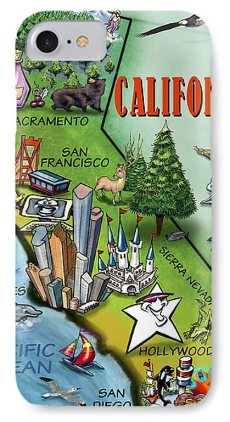 IPhone Case featuring the digital art California Cartoon Map by Kevin Middleton