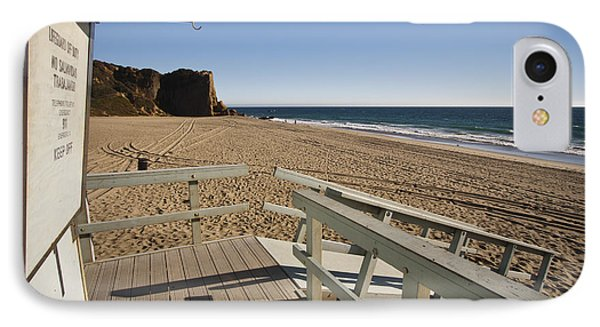 California Lifeguard Shack At Zuma Beach IPhone Case by Adam Romanowicz