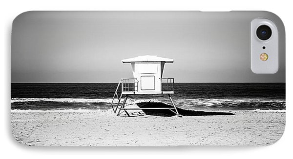 California Lifeguard Tower Black And White Picture IPhone Case by Paul Velgos