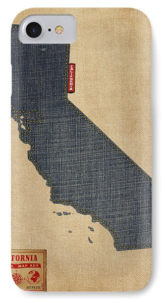 California Map Denim Jeans Style IPhone Case by Michael Tompsett