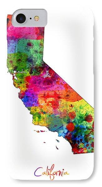 California Map IPhone Case by Michael Tompsett
