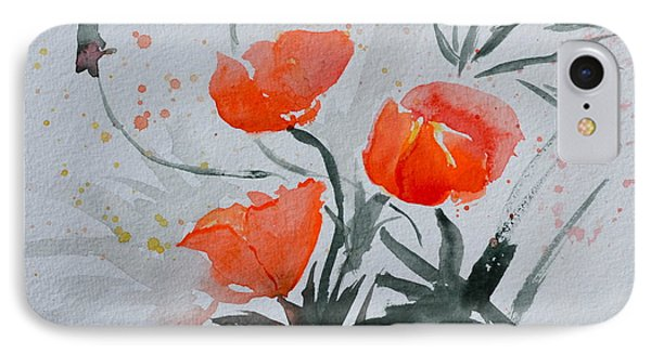 California Poppies Sumi-e IPhone Case by Beverley Harper Tinsley