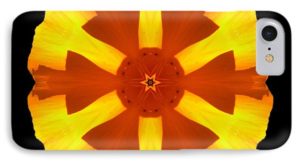 California Poppy Flower Mandala IPhone Case by David J Bookbinder