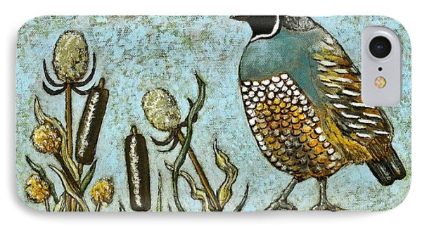 IPhone Case featuring the painting California Quail by VLee Watson