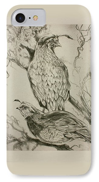 California Quails Lithograph IPhone Case by Derrick Higgins