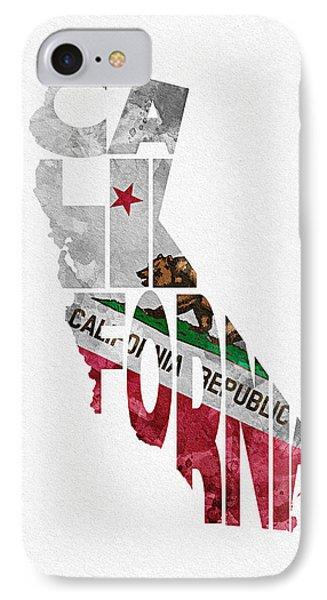 California Typographic Map Flag IPhone Case by Ayse Deniz