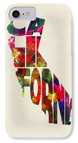 California Typographic Watercolor Map IPhone Case by Ayse Deniz