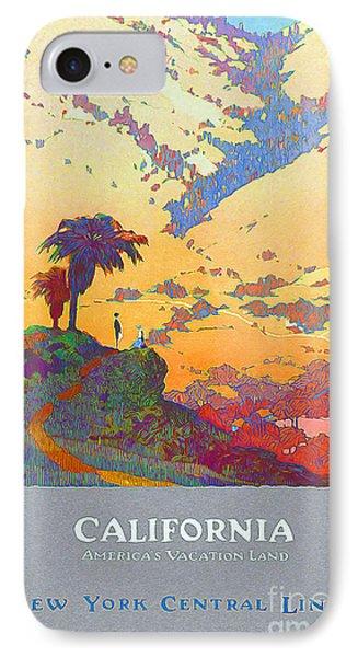 California Vintage Travel Poster IPhone Case by Jon Neidert