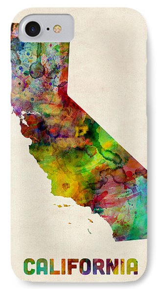 California Watercolor Map IPhone Case