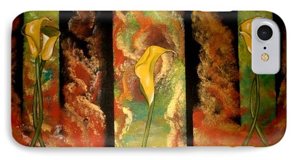 IPhone Case featuring the painting Calla Lilly Sunrise by Cindy Micklos