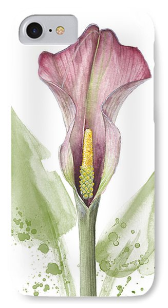 IPhone Case featuring the painting Calla Lily 01 - Elena Yakubovich by Elena Yakubovich