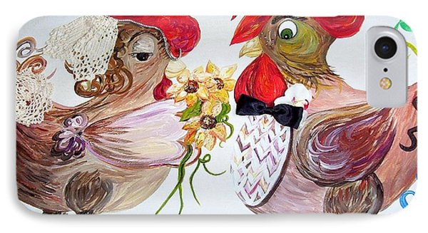 IPhone Case featuring the painting Calling All Chicken Lovers Say I Do by Eloise Schneider