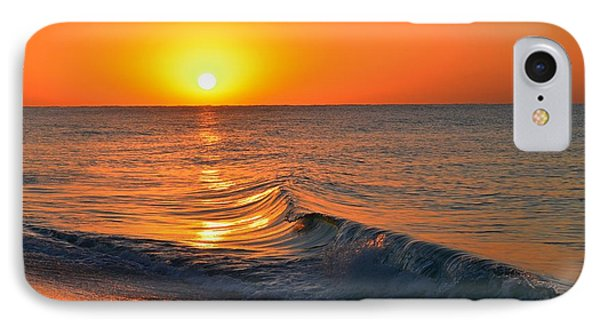 Calm And Clear Sunrise On Navarre Beach With Small Perfect Wave IPhone Case by Jeff at JSJ Photography