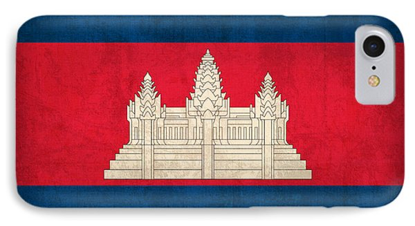 Cambodia Flag Vintage Distressed Finish IPhone Case by Design Turnpike