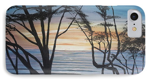IPhone Case featuring the painting Cambria Cypress Trees At Sunset by Ian Donley