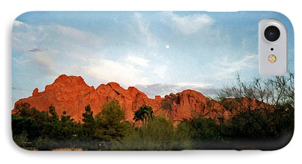 Camelback Mountain And Moon IPhone Case by Connie Fox