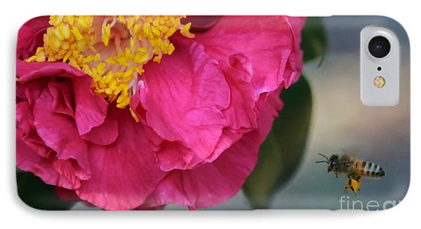 Camellia With Bee Phone Case by Carol Groenen