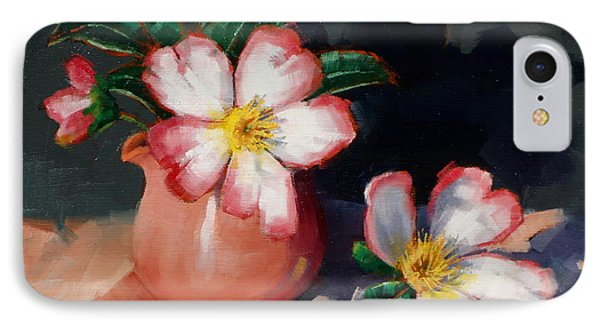 IPhone Case featuring the painting Camellias And Chinese Tea Jug II by Margaret Stockdale