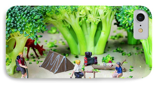 Camping Among Broccoli Jungles Miniature Art IPhone Case by Paul Ge