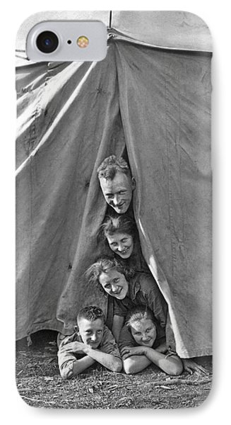 Camping Family Portrait IPhone Case by Underwood Archives