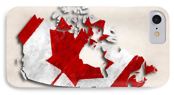 Canada Map Art With Flag Design IPhone Case by World Art Prints And Designs