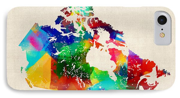 Canada Rolled Paint Map IPhone Case by Michael Tompsett